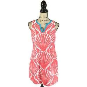 Crown & Ivy 8P Dress Shell Clam Print Eyelet